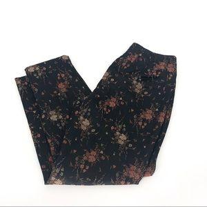 Dana Buchman floral oriental pants black metallic